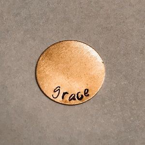 "Jewelry - ""Grace"" Custom Hand-Stamped Metal Necklace"